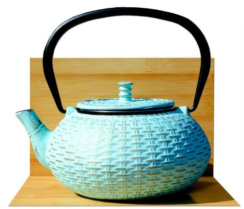 RATTAN cast iron tea pot kettle 0.8L Aqua on gold colour Tetsubin Japanese style GOTO®